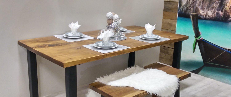 Table de cuisine sur mesure bois massif et métal