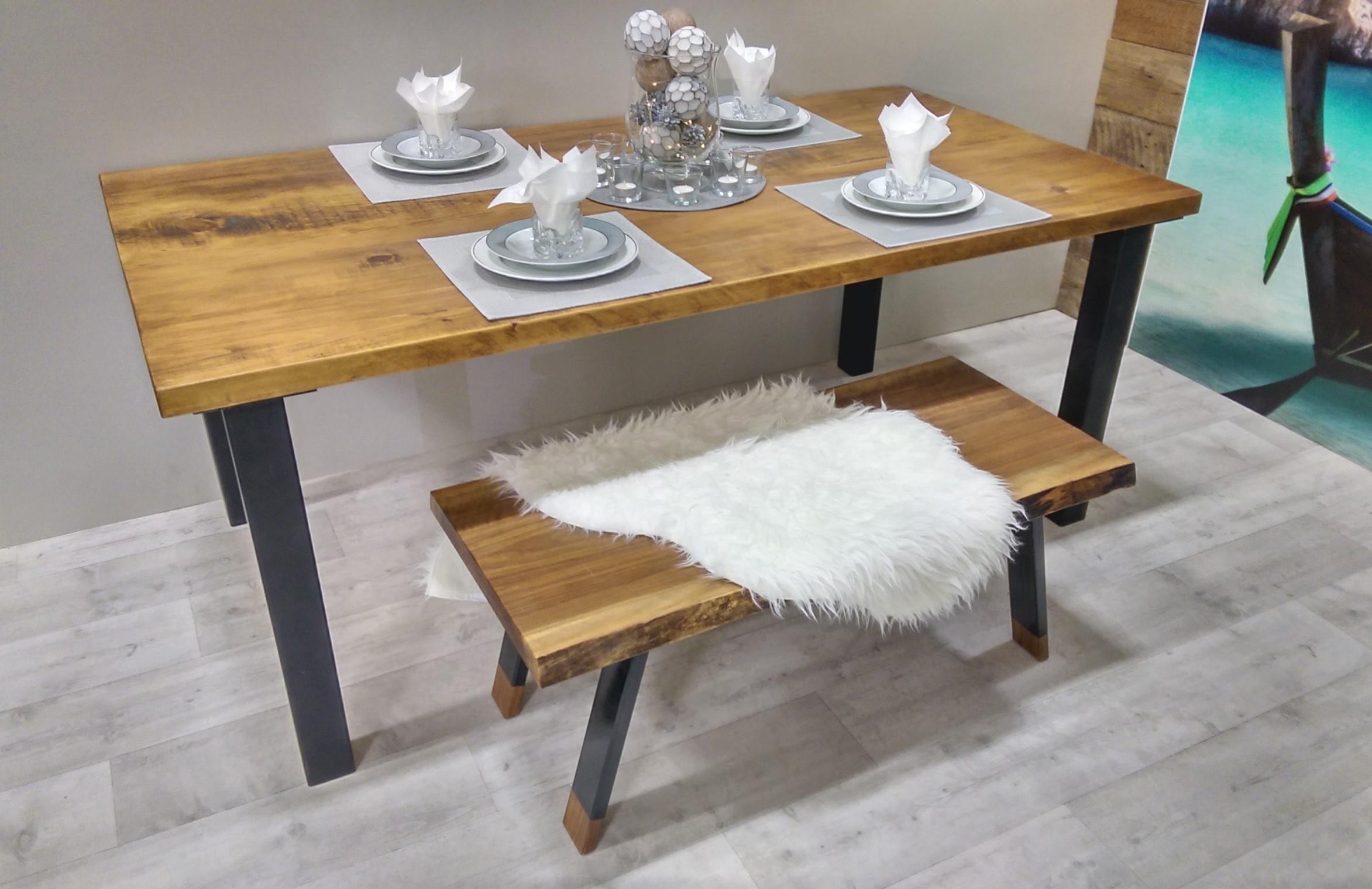 Table De Cuisine Rustika En Bois Métal Table à Dîner Rustique Chic