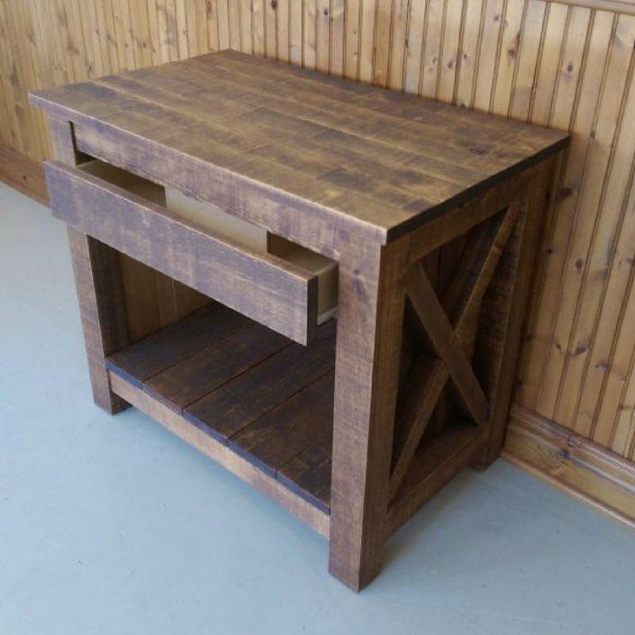 Vanité salle bain bois rustique effet bois de grange en bois massif sur mesure par L'Ébénisterie de Lanaudière