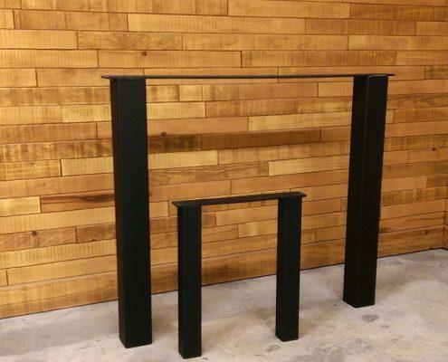 Patte de table carrée en métal noir pour table de cuisine ou de salon ebenisteire de lanaudière