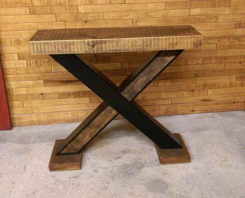 Patte de table en métal avec insertion de bois de style industriel pour plateau de table ebenisterie lanaudiere
