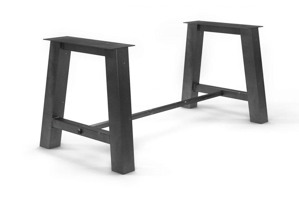 Pied de table central en métal pour plateau de table en bois massif fabrication sur mesure par l'ébénisterie de lanaudière