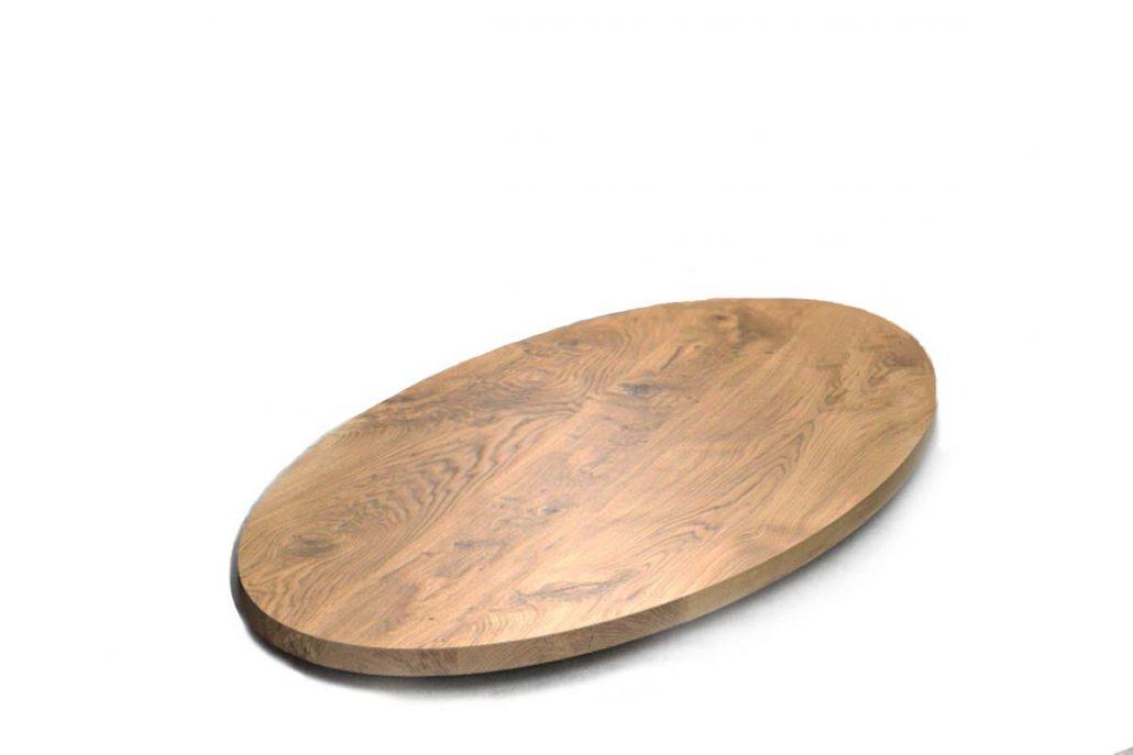 Plateau de table en chêne oval en bois massif oval fabrication sur mesure par l'ébénisterie de Lanaudière au quebec