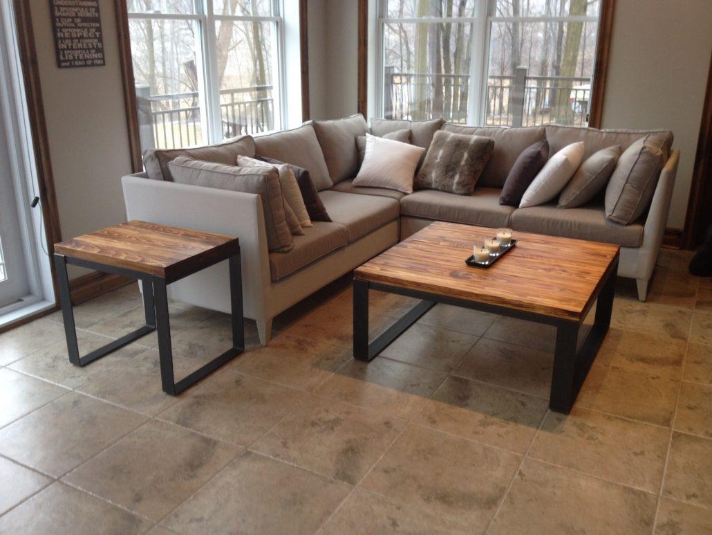 table de salon bois m tal table basse table caf bois. Black Bedroom Furniture Sets. Home Design Ideas