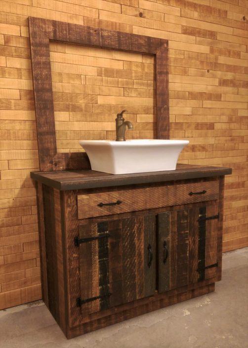 Vanité salle de bain rustique bois sur mesure