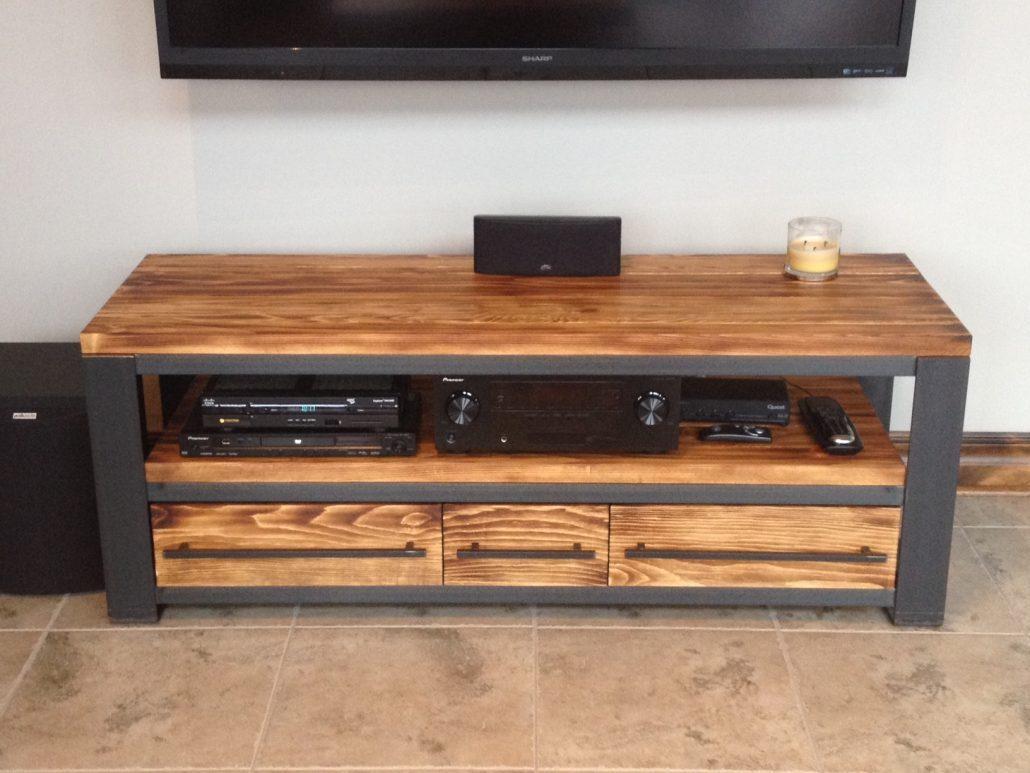 Meuble Tv Pour Coin meuble tv bois métal - meuble télé style industriel bois métal