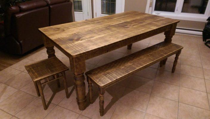 Table de cuisine rustique en bois massif meuble fabriquer sur mesure