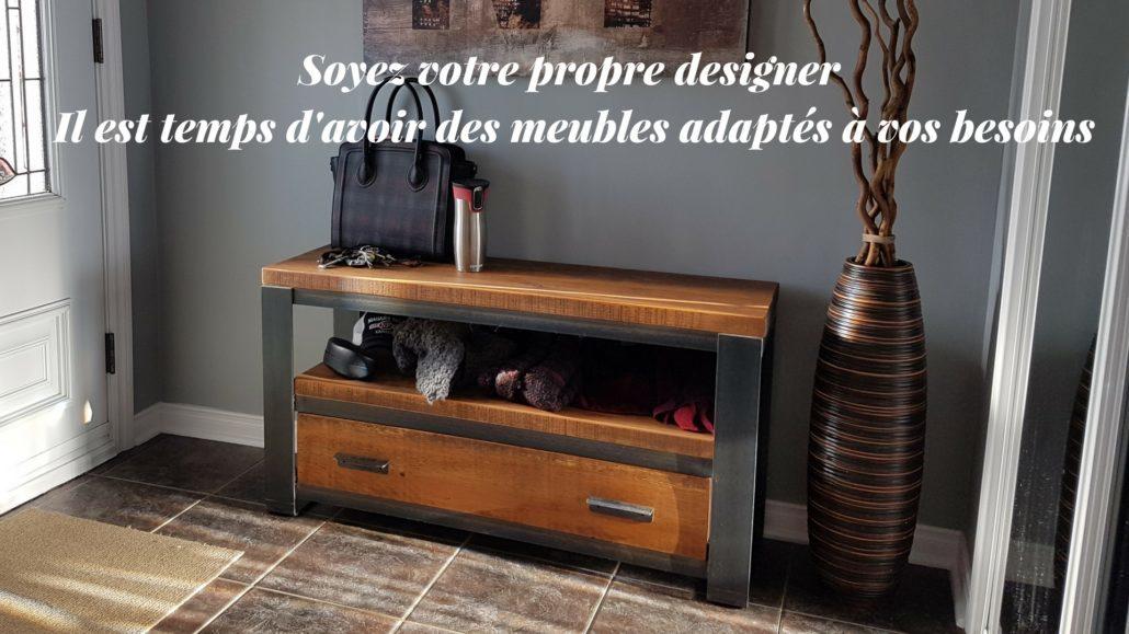 Ébénisterie fabricant meuble sur mesure, Banc d'entrée en bois métal de style industriel fabriquer sur mesure par ebeniste artisan dans lanaudière