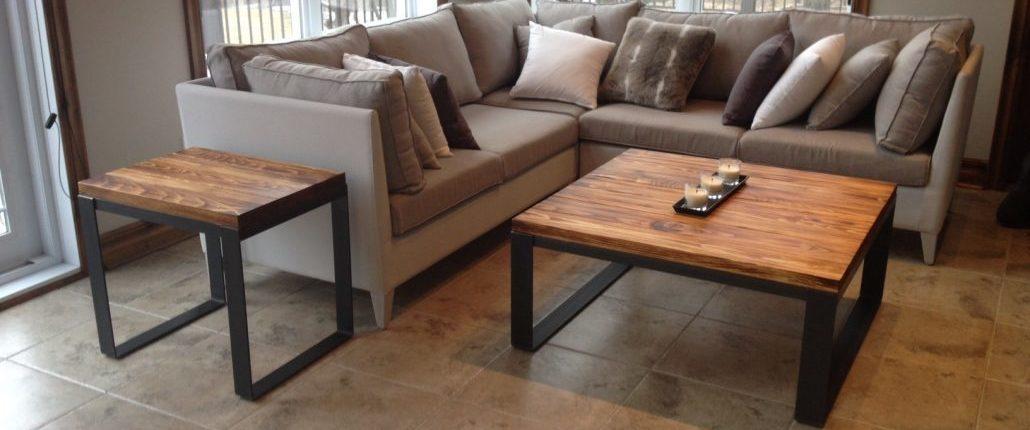 Meuble sur mesure bois métal en acier brut et pin massif, table de salon industriel fabriquer par L'Ébénisterie de lanaudière