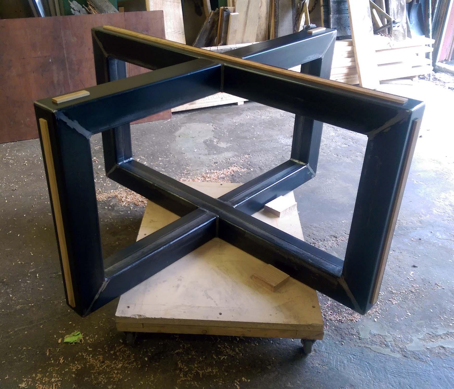 Table Centrale De Cuisine base de table central en x en métal et bois %