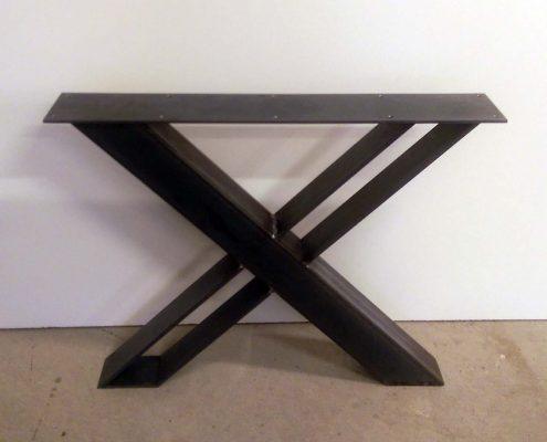 Base de table en X sur mesure en métal brute l'ébénisterie de lanaudière