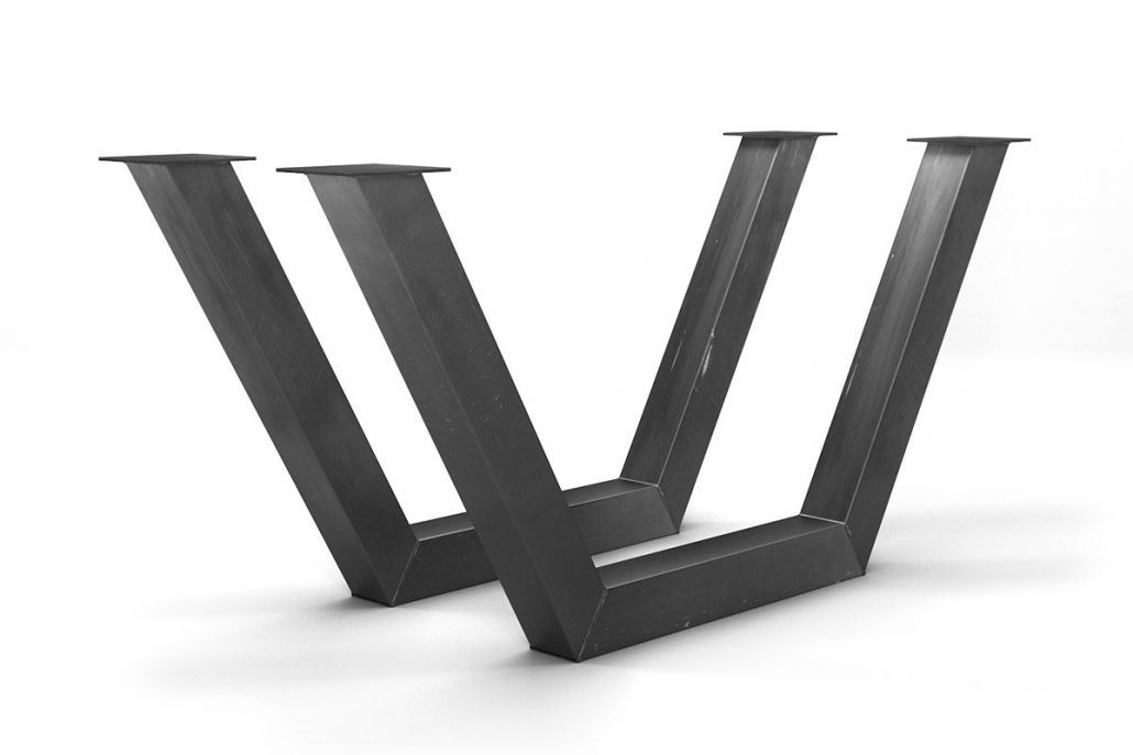 Base de table industriel pour table de cuisine, patte en métal brute par l'ébénisterie de lanaudière